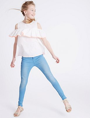Skinny Fit Adjustable Waist Jeans (3-14 Years), BLUE, catlanding