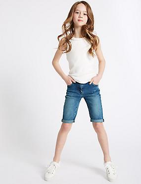 Short en jean longueur genou (du 3 au 14ans), DENIM BLEU INTERMÉDIAIRE, catlanding