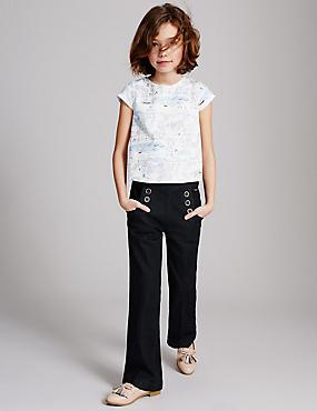 Adjustable Waist Jeans (3-14 Years), DARK INDIGO, catlanding