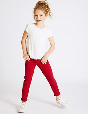 Cotton Jeans with Stretch (3-14 Years), RED, catlanding