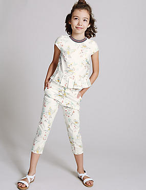 Printed Cotton Trousers with Stretch (3-14 Years), MULTI, catlanding