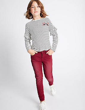 Cotton Rich Jeans (3-14 Years), CRANBERRY, catlanding