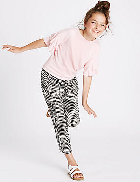 Tie Waist Checked Trousers (3-14 Years), BLACK/WHITE, catlanding