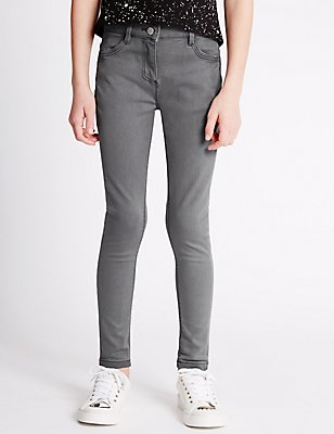 Cotton Rich with Stretch Super Skinny Jeans (3-14 Years), GREY, catlanding