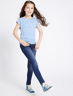 Cotton Rich with Stretch Super Skinny Jeans (3-14 Years), MED BLUE DENIM, catlanding