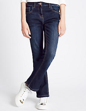 Cotton with Stretch Kick Flare Fit Jeans (3-14 Years), DENIM, catlanding