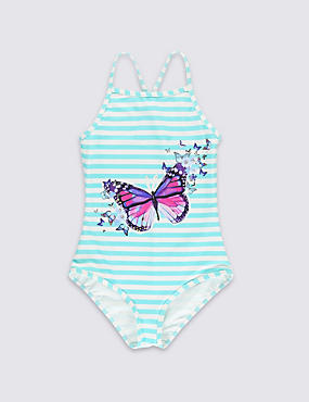 Chlorine Resistant Striped & Butterfly Print Swimsuit (5-14 Years)