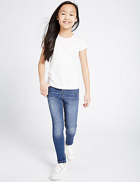 Cotton High Waisted Distressed Skinny Jeans with Stretch (3-14 Years), DENIM, catlanding