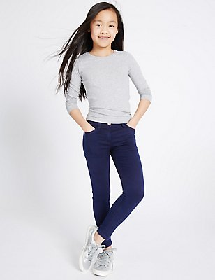Cotton Super Skinny Jeans with Stretch  (3-14 Years), DARK DENIM, catlanding