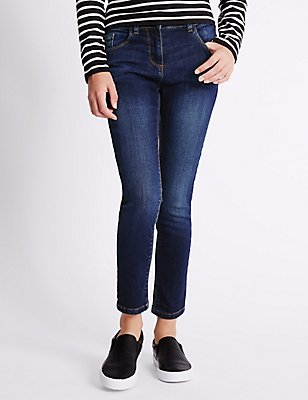 Cotton Rich with Stretch Skinny Jeans (3-14 Years), DARK DENIM, catlanding