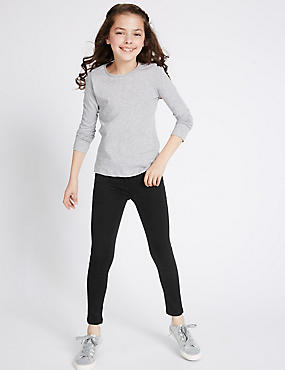 Cotton Rich Super Skinny Leg Jeans (3-14 Years), BLACK DENIM, catlanding