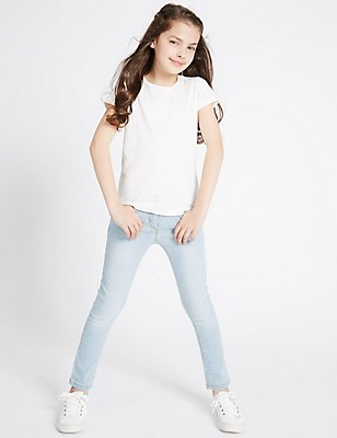 Cotton Rich with Stretch Skinny Jeans (3-14 Years), LIGHT DENIM, catlanding