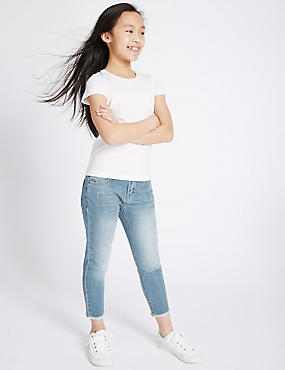 Relaxed Fit Raw Edge Jean (3-14 Years), LIGHT DENIM, catlanding