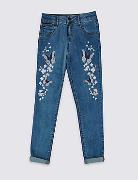 Cotton Butterfly Applique Jeans with Stretch (3-14 Years), MED BLUE DENIM, catlanding