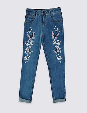 Butterfly Applique Jeans (3-14 Years), MED BLUE DENIM, catlanding