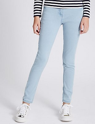 Cotton Rich with Stretch Super Skinny Jeans (3-14 Years), LIGHT DENIM, catlanding