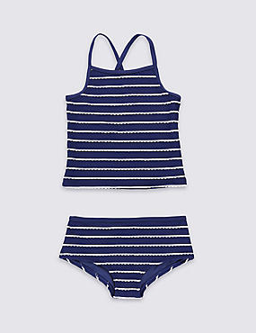 Striped Tankini Set (3-14 Years), NAVY MIX, catlanding