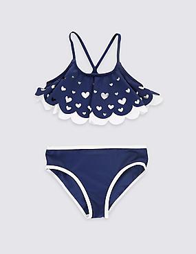 2-teiliges Bikini-Outfit mit Lycra® Xtra Life™ und Rüschen (5–14 Jahre), MARINEBLAU MELANGE, catlanding