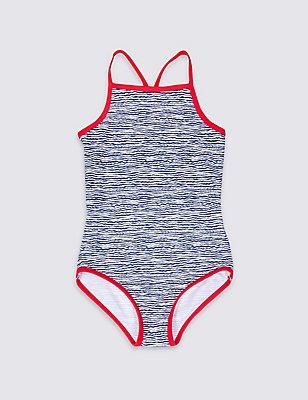 Badeanzug mit Lycra® Xtra Life™ und Wellenmuster (3–14 Jahre), MARINEBLAU MELANGE, catlanding