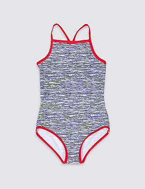 Wave Print Swimsuit with Lycra® Xtra Life™ (3-14 Years), NAVY MIX, catlanding