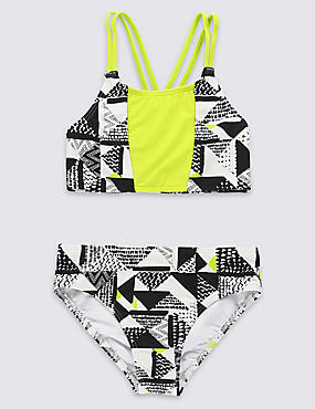2 Piece Printed Bikini Outfit (5-14 Years), BLACK MIX, catlanding