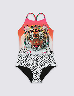 Animal Print Swimsuit with Lycra® Xtra Life™ (3-14 Years), MULTI, catlanding