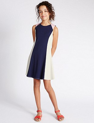 Colour Block Fit & Flare Dress (5-14 Years), PINK, catlanding