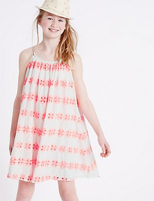 Pure Cotton Bordered Dress (3-14 Years), WHITE MIX, catlanding