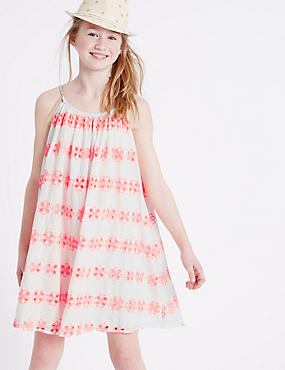 Pure Cotton Bordered Dress (3-14 Years), WHITE MIX, catlanding