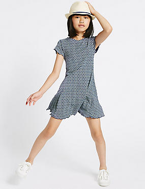 Geometric Print Jersey Dress (3-14 Years), BLUE MIX, catlanding
