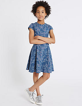 All Over Print Jersey Dress (3-14 Years) , NAVY MIX, catlanding