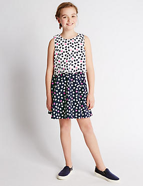 Heart Print 2 in 1 Dress (5-14 Years)
