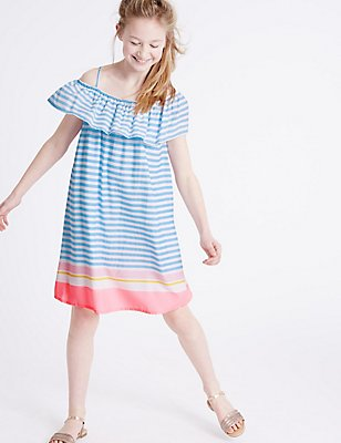 Striped Frill Woven Dress (3-14 Years), MULTI, catlanding
