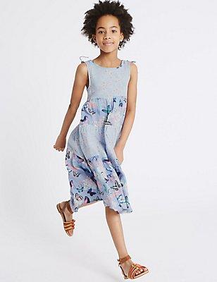 Butterfly Print Maxi Dress (3-14 Years), BLUE MIX, catlanding