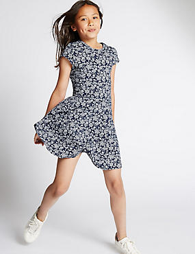 Cotton Rich Floral Dress (5-14 Years), NAVY MIX, catlanding