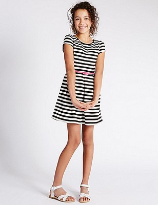 Striped Skater Dress with Belt (5-14 Years), NAVY STRIPE, catlanding