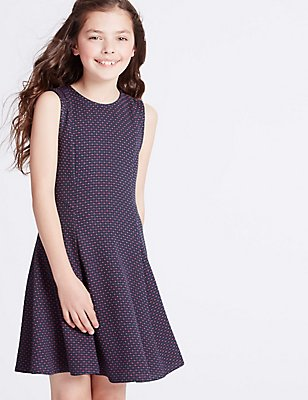 Textured Crew Neck Dress (3-14 Years), MULTI, catlanding