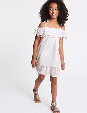 Pure Cotton Pom Pom Dress (3-16 Years), WHITE, catlanding