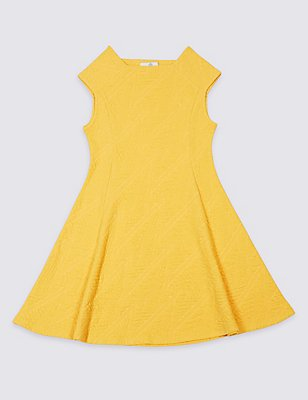 Textured Cotton Blend Dress (3-14 Years), MEDIUM YELLOW, catlanding