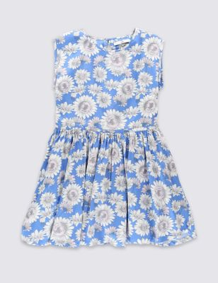 Платье из чистого хлопка с подсолнухами для девочки 5-14 лет