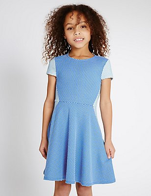 Spotted Ponte Dress (3-14 Years), BLUE, catlanding