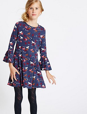 Cotton Dress with Stretch (3-14 Years), NAVY MIX, catlanding