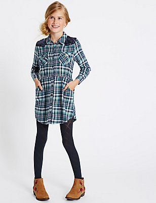 Checked Pure Cotton Shirt Dress (3-14 Years), TEAL MIX, catlanding