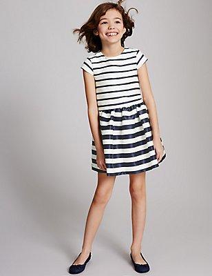 Striped A-Line Dress (3-14 Years), DARK NAVY MIX, catlanding