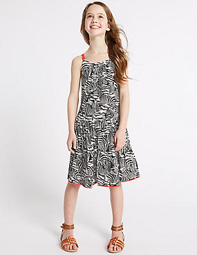 Zebra Print Dress (3-14 Years), WHITE MIX, catlanding