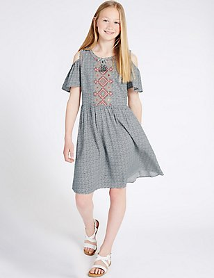 Geometric Print Dress with StayNEW™ (3-14 Years), MULTI, catlanding