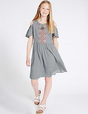 Geometric Print Dress with StayNEW™ (3-14 Years), MULTI, catlanding