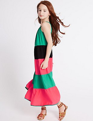 Colour Block Dress (3-14 Years), MULTI, catlanding
