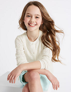 Pure Cotton Pointelle Cardigan (3-14 Years), IVORY, catlanding