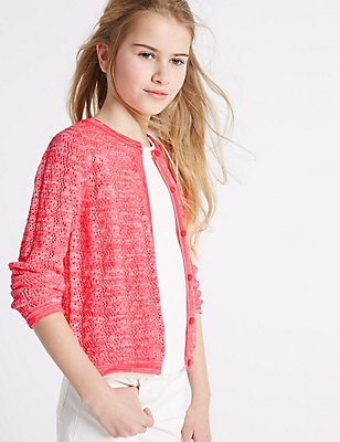 Cotton Rich Pointelle Cardigan (3-14 Years), CORAL, catlanding